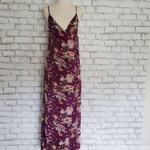 GB Gianni Bini Purple Floral Maxi Wrap Tie Dress S